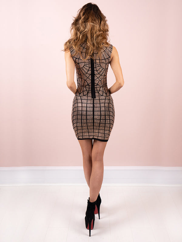 Madeleine Rose Gold Rhinestones Bodycon Club Dress
