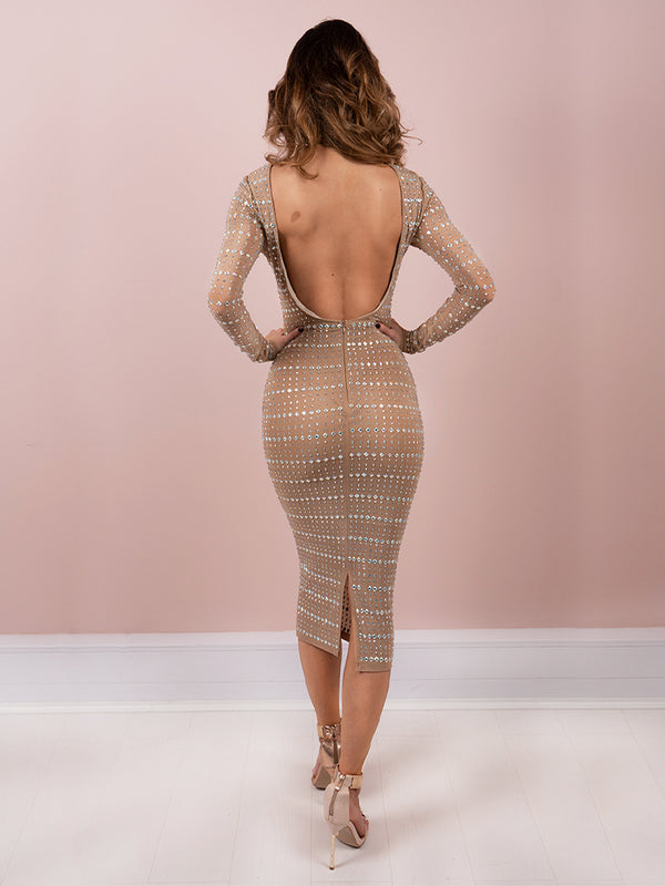 Loren Latte Low Back Rhinestones Encrusted Embellished Party Dress