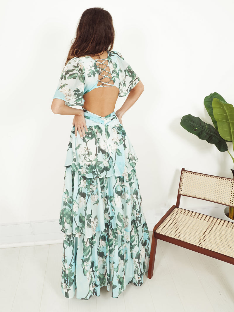 chiffon maxi dress uk, maxi dress asos, blue maxi dress, floral print maxi dress, aqua maxi dress, butterfly sleeve, open back maxi, garden party dress,