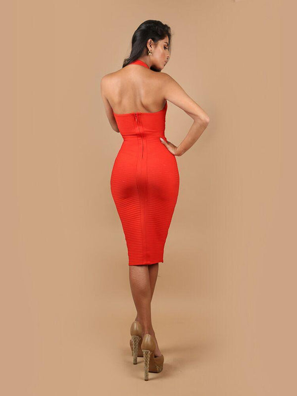 ANALI ROUGE HALTER NECK BANDAGE MIDI DRESS - HOUSE OF MAGUIE