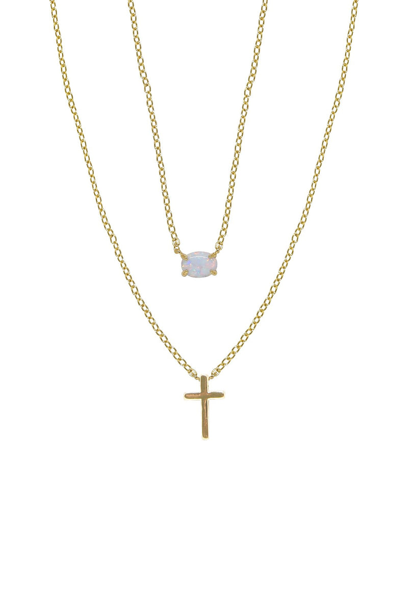Modern Dainty Opal and Cross Layered Necklace