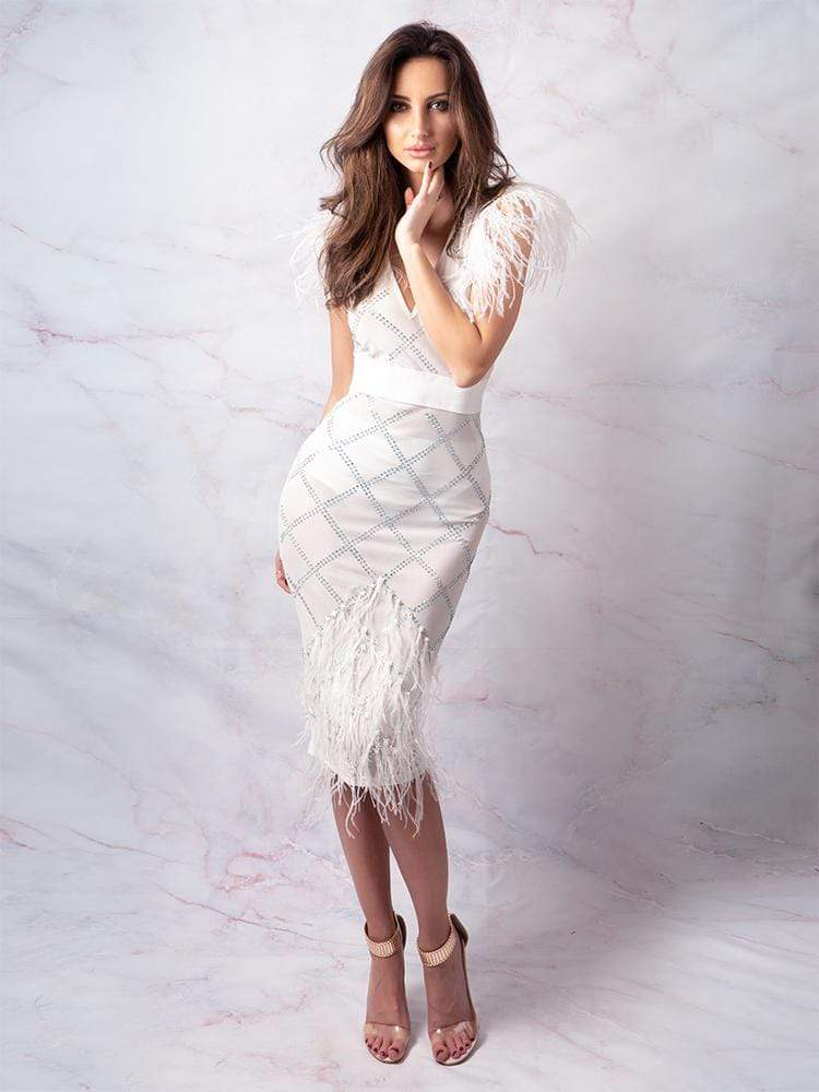 Dresses Otaviana White Crystals & Ostrich Feathers Party Dress Celebrity Boutique House of Maguie