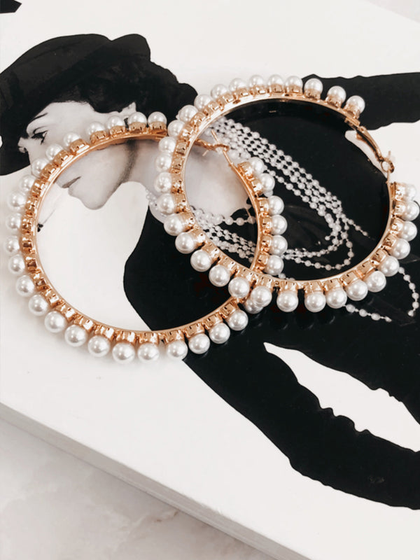 Vintage Pearls Hoops, Wedding Fashion Jewellery, Bohemian Fashion Jewellery, Hoops, Vintage Hoops