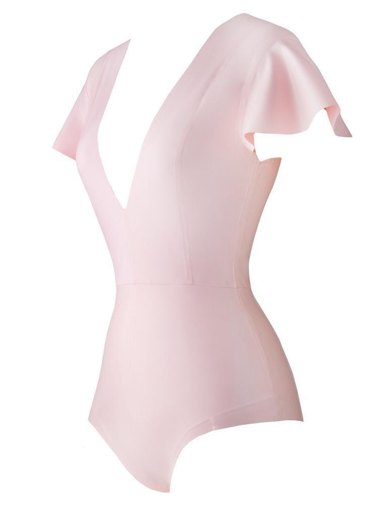 BOO BOO KITTY PINK COTTON CANDY DEEP 'V' LATEX BODYSUIT