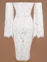 LOLA WHITE FLARE SLEEVES SCALLOP LACE MIDI DRESS - HOUSE OF MAGUIE