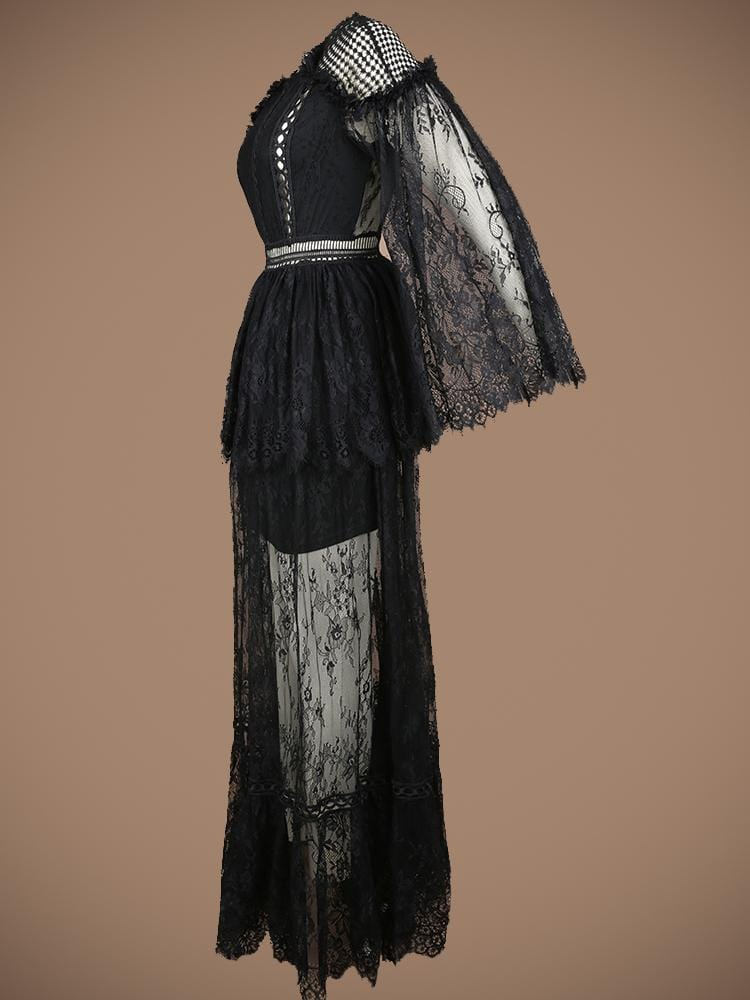 ESMERIA BLACK SCALLOP LACE BUTTERFLY SLEEVES MAXI DRESS - HOUSE OF MAGUIE