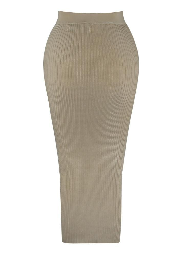 DASHA LATTE THIGH SPLIT BUTTONED RIBBED MID SKIRT - HOUSE OF MAGUIE