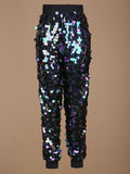 FUTURISTICA BLACK IRIDESCENT SEQUIN JOGGERS - HOUSE OF MAGUIE