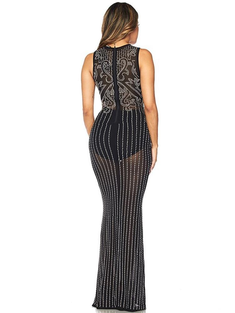 LUXUO BLACK & WHITE PEARLS HEAVY EMBROIDERY MAXI DRESS - HOUSE OF MAGUIE