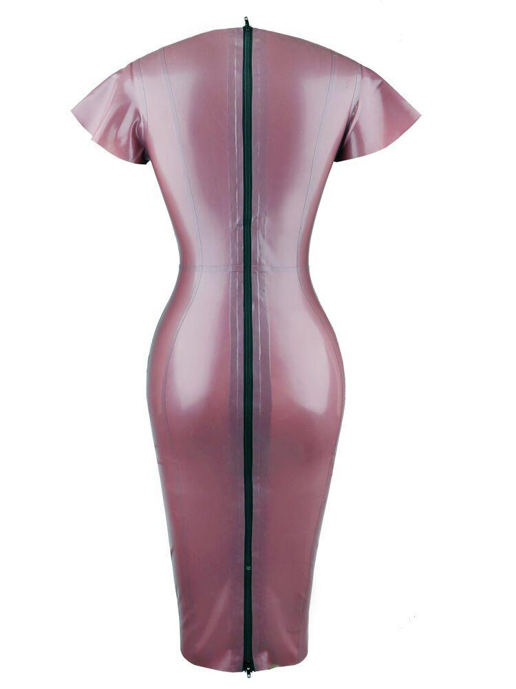 SANTA ELECTRIC LILAC DEEP 'V' BUTTERFLY SLEEVES LATEX DRESS - HOUSE OF MAGUIE