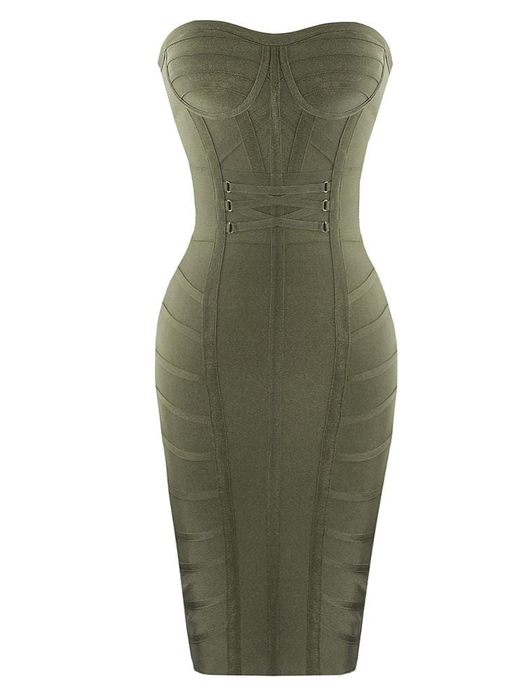 GIANETTE OLIVE HOURGLASS BUSTIER BANDAGE DRESS - HOUSE OF MAGUIE