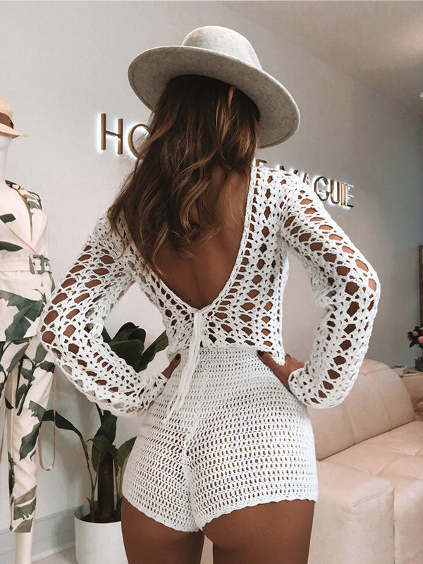 White Crochet Playsuit, Crochet Playsuit, Bohemian Style Crochet Playsuit, Boho Chic Playsuit, Crochet Catsuit, Catsuit White, Beach Playsuit