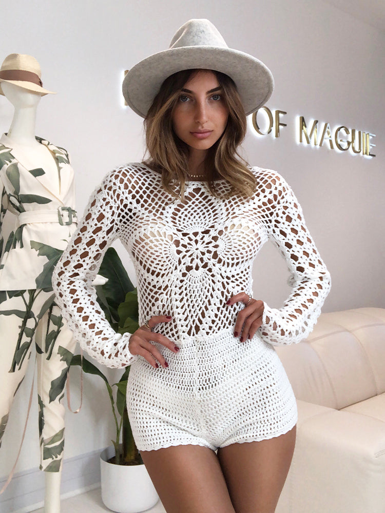 Beach Playsuit, White Crochet Playsuit, Crochet Playsuit, Bohemian Style Crochet Playsuit, Boho Chic Playsuit, Crochet Catsuit, Catsuit White, Beach Playsuit
