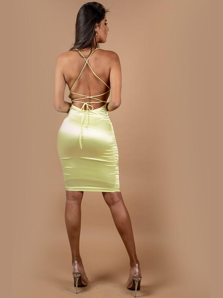 CLEO LIME GREEN OPEN BACK SATIN JERSEY MIDI DRESS - HOUSE OF MAGUIE