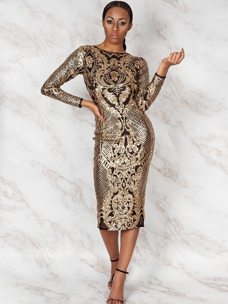 CONSTANZA SEASON II BLACK & GOLD EMBROIDERY SEQUINS OPEN BACK MIDI DRESS - HOUSE OF MAGUIE
