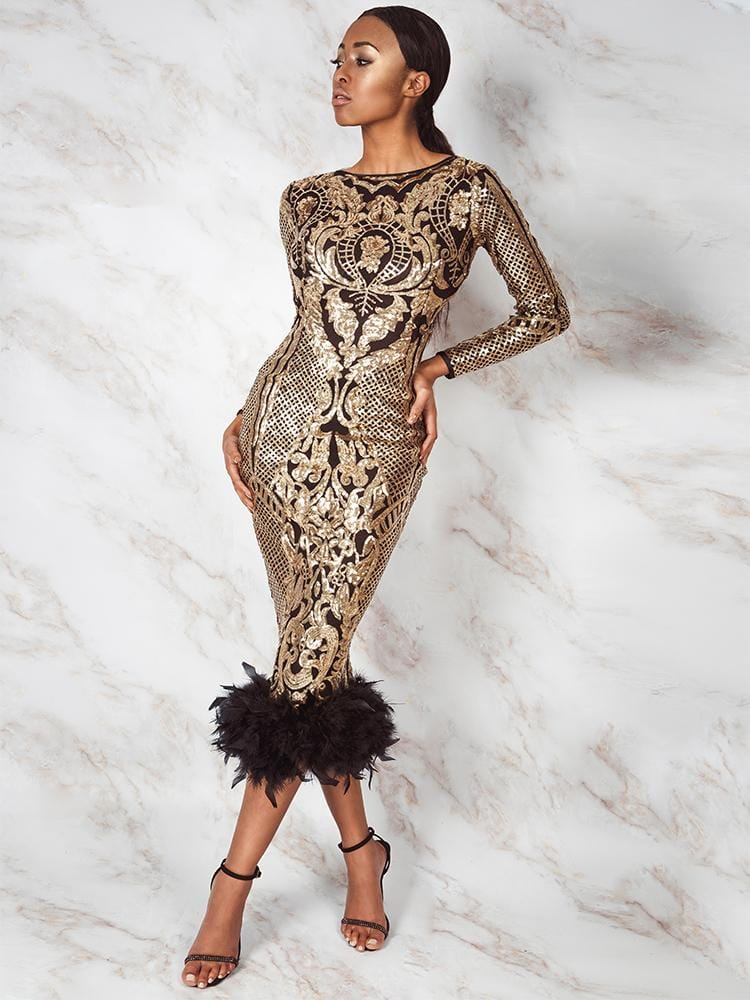 CONSTANZA SEASON II GOLD EMBROIDERY SEQUINS OPEN BACK FEATHER HEM MIDI DRESS LIMITED EDITION - HOUSE OF MAGUIE