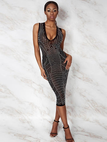 GLAMOURTIC BLACK & GOLD DIMENSIONAL EFFECT  CRYSTALS STUDDED BODYCON DRESS