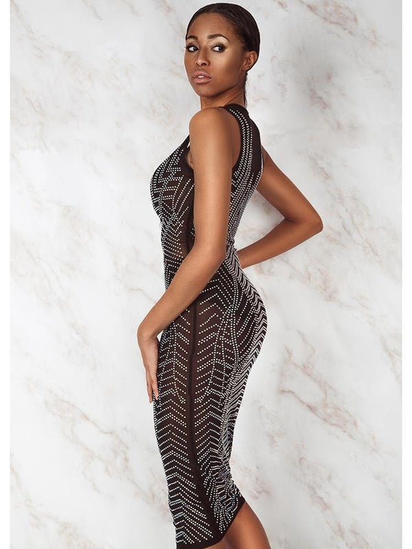 TIANA BLACK CRYSTALS CURVE CREATOR MIDI DRESS - HOUSE OF MAGUIE