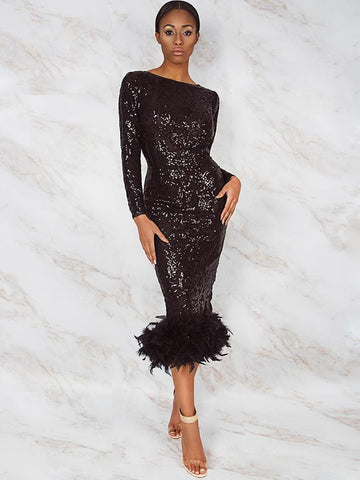 CONSTANZA SEASON II BLACK & GOLD EMBROIDERY SEQUINS OPEN BACK MIDI DRESS