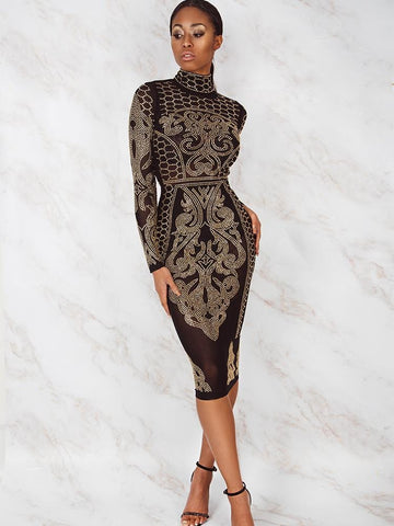 MARIAN BLACK & WHITE PEARLS  EMBROIDERY SHEER MESH MIDI DRESS