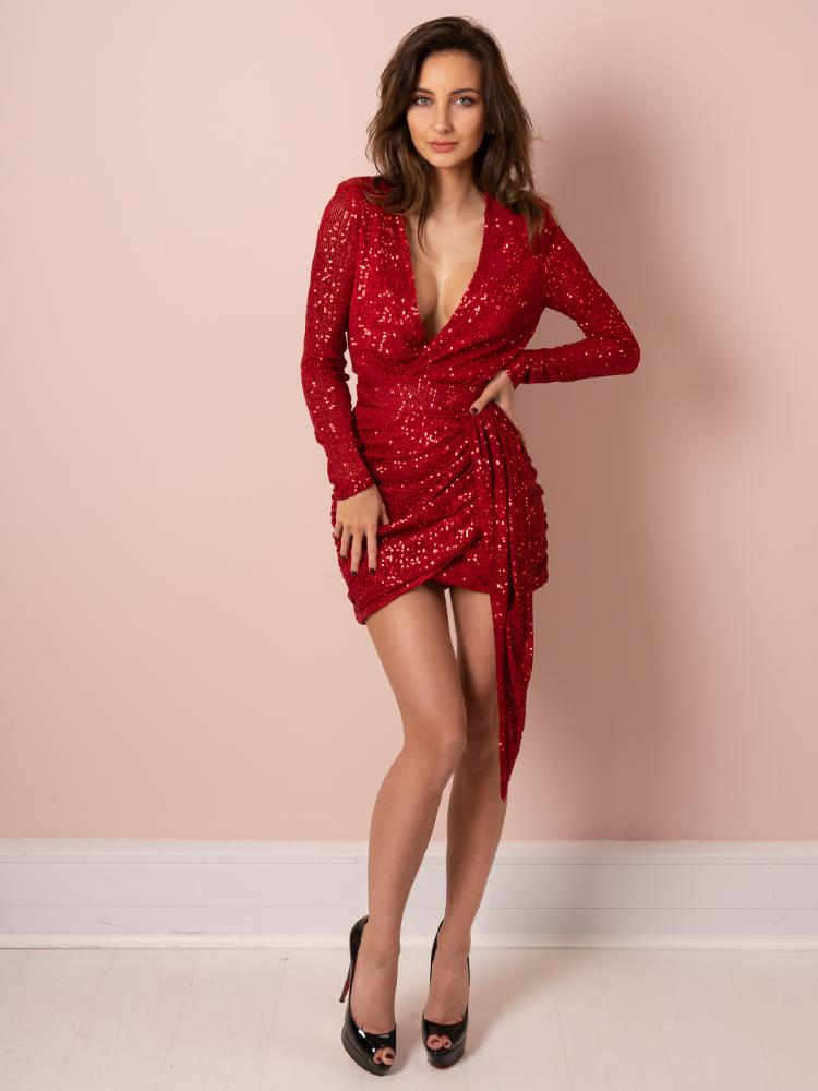 red dress, valentines day dress, wrap dress, sexy dress, sequin dress, celeb boutique
