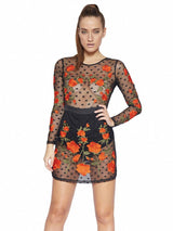 DONATELLA BLACK POLKA DOT SHEER EMBROIDERY DRESS & SHORTIES - HOUSE OF MAGUIE