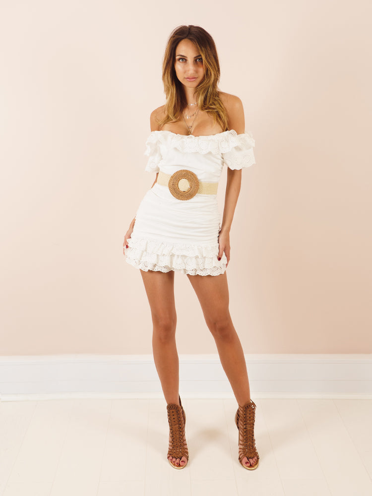Boohoo Style White Dress, Summer Dress, White Summer Dress, Bohemian Style Mini Dress, Frill Dress, Frill Dress White, Summer Vacation Dress, Women's Dress UK, Zara Dress, Celebrity Summer Dress,