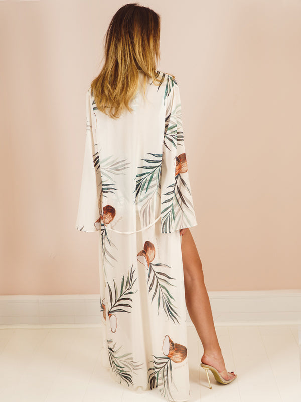 Moara Coco's Palms & Coconut Logo Print Chiffon Duster Cover-up
