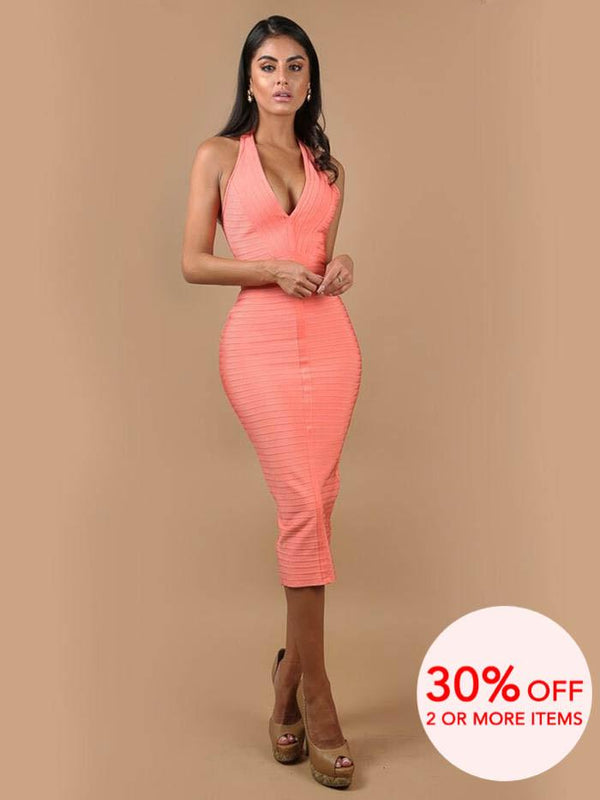 ANALI PEACH HALTER NECK BANDAGE MIDI DRESS