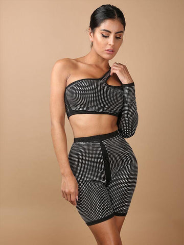 MIROR BLACK OFF THE SHOULDER CO-ORD BANDAGE SET