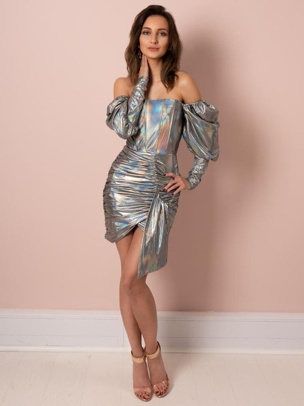 party dress, silver dress, silver chrome dress, reflective dress, luxury dress