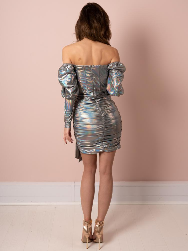 silver dress, silver chrome dress, chrome dress, party dress, celeb boutique