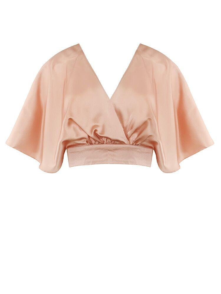 BELAMINA ROSE SATIN PLEATED PREMIUM CROP-TOP
