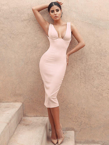 ARITANA NUDE PUSH-UP & TIE WAIST BANDAGE DRESS