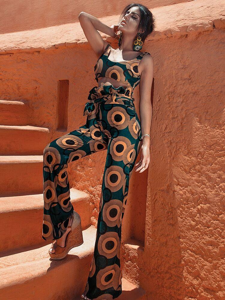 KAYA ZELLIGE PRINT SOFT VELVET TROUSER SET - HOUSE OF MAGUIE