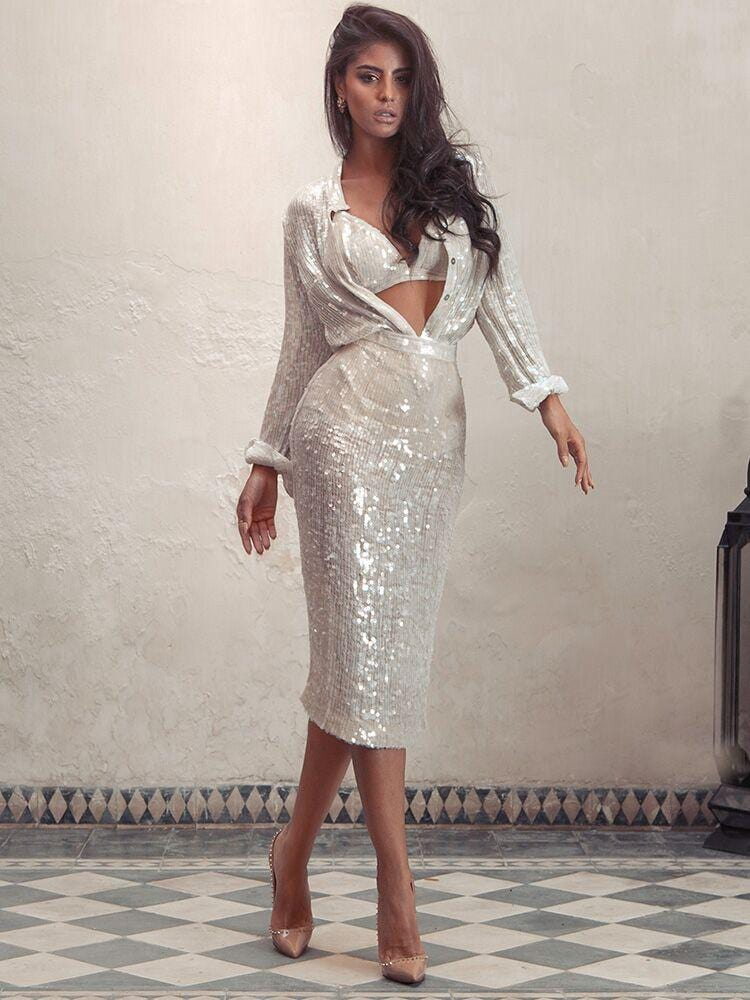 JADE ANTIQUE WHITE IRIDESCENT SEQUIN LIMITED EDITION SKIRT SET PRE ORDER - HOUSE OF MAGUIE
