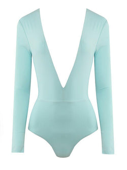 CELINE AQUA DEEP PLUNGEOH SO SEXY! BODYSUIT - HOUSE OF MAGUIE
