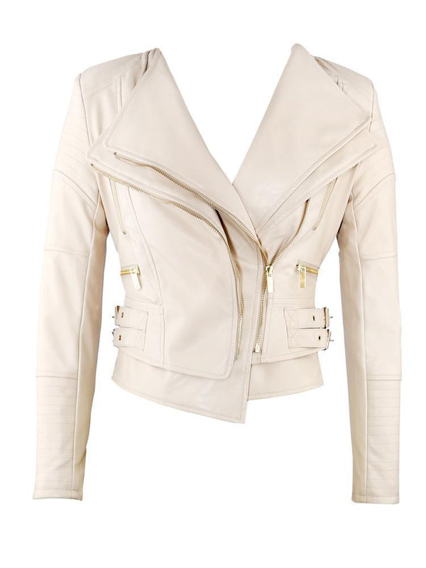 DITA LATTE VEGAN LEATHER TAILORED JACKET - HOUSE OF MAGUIE