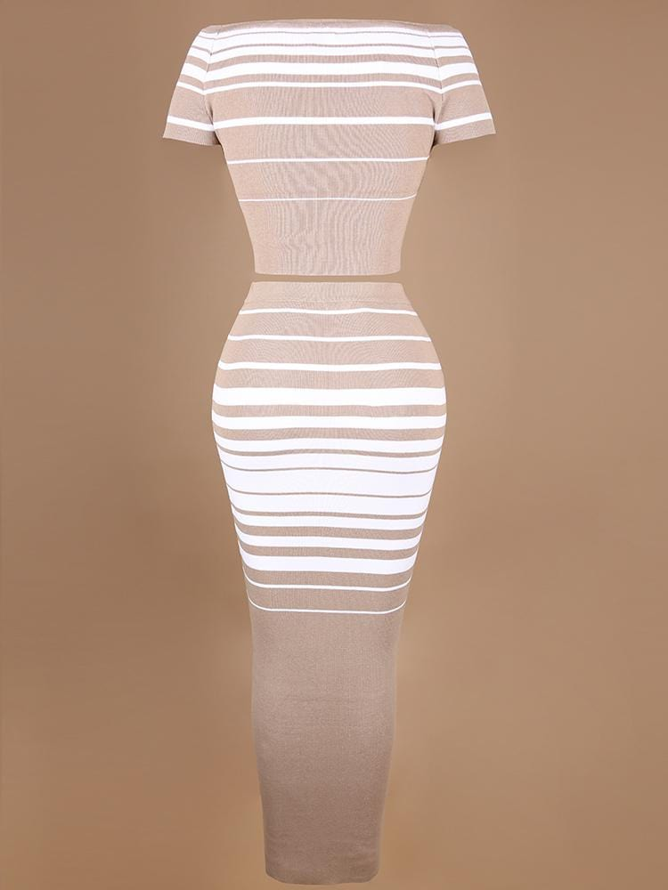 MACHIKA LATTE & WHITE STRIPED CO-ORD KNIT RIBBED SET - HOUSE OF MAGUIE