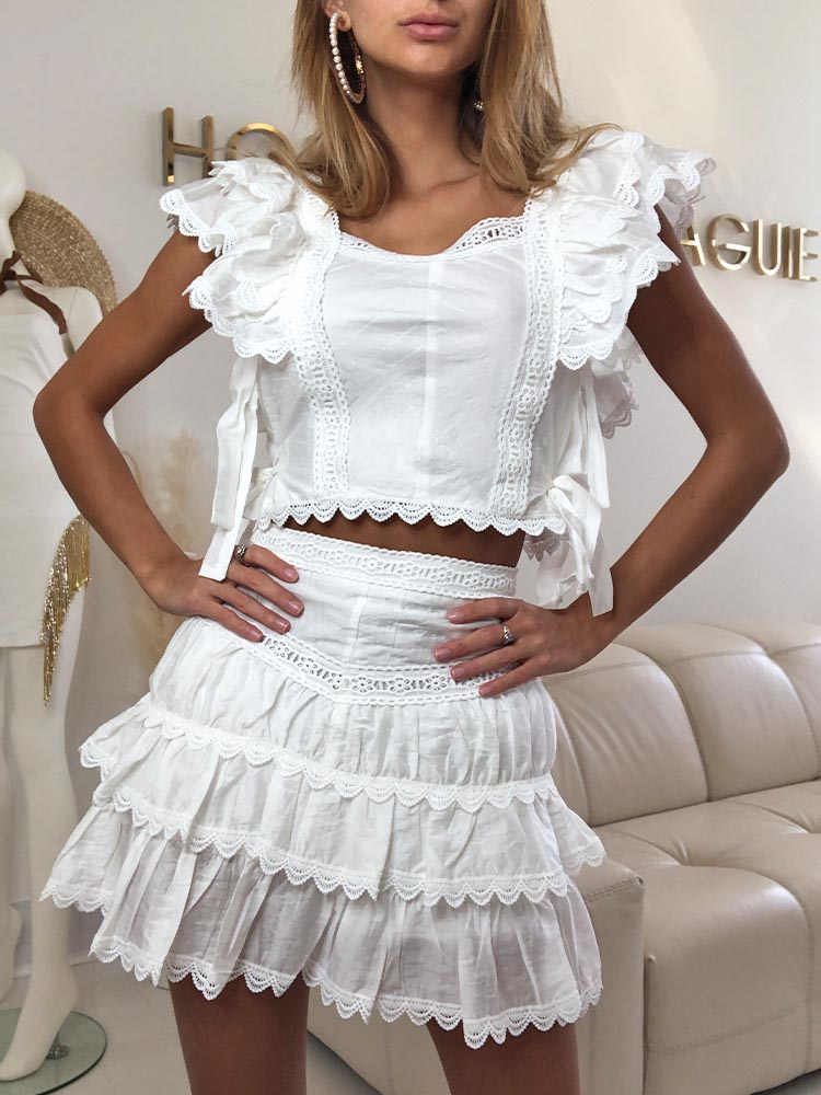 white co ord set, zara co ord set white, matching sets, white lace top, lace trims, white matching set, summer co ord women, ruffled skirt, boho co order, boho clothes, summer boho clothes, boho top