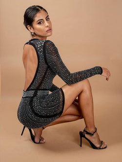 BLACK CAVIAR CRYSTALIZED OPEN BACK  PREMIUM MINI DRESS