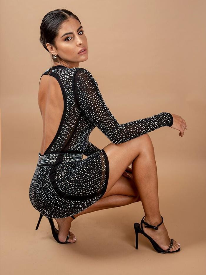 Black Caviar Crystallised Open Back Cocktail Mini Dress