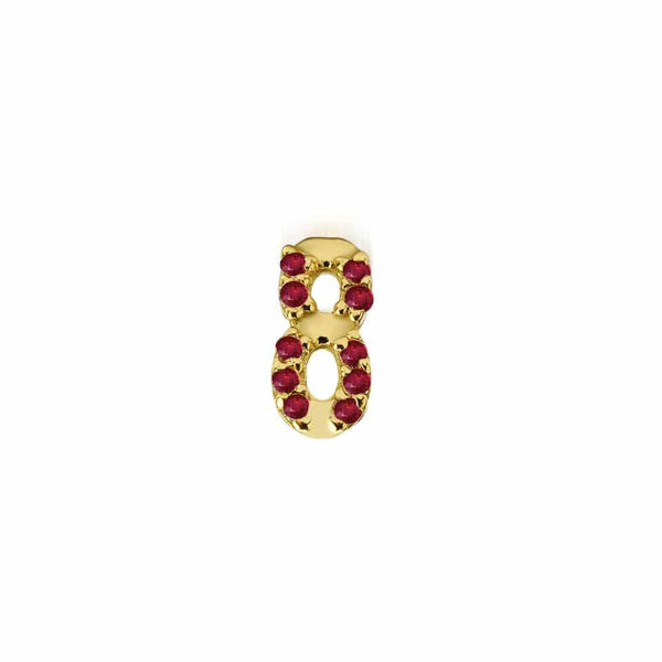 GFG Jewellery Earrings Numerology Earring 8 - Ruby -Single