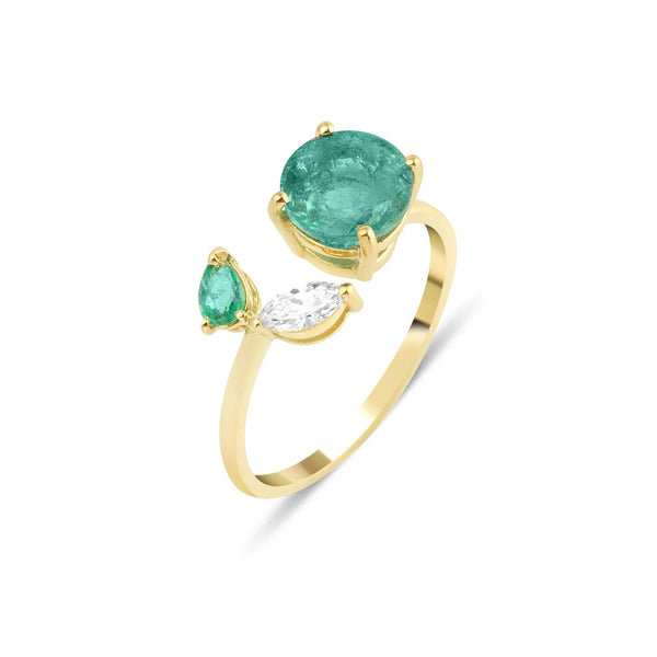 GFG Jewellery Rings Artisia Leaf Emerald Ring