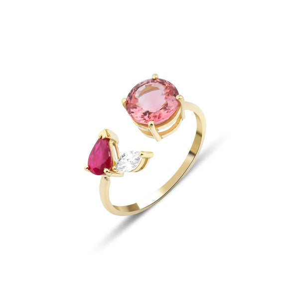 GFG Jewellery Rings Artisia Leaf Pink Ring