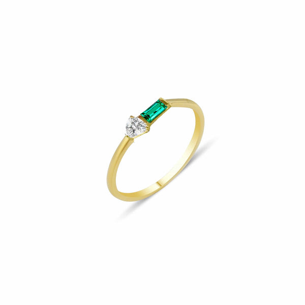 GFG Jewellery Rings Eline Ring - Emerald and Diamond