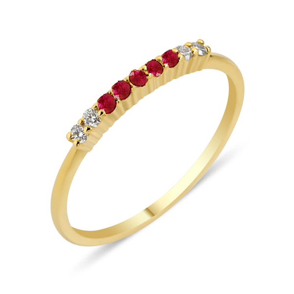 GFG Jewellery Rings Lara Bar Ring - Diamonds and Rubies