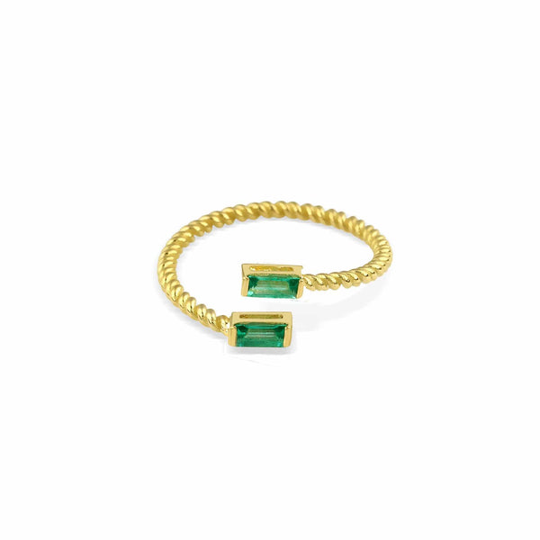 GFG Jewellery Rings Lara Double Twist Emerald Ring