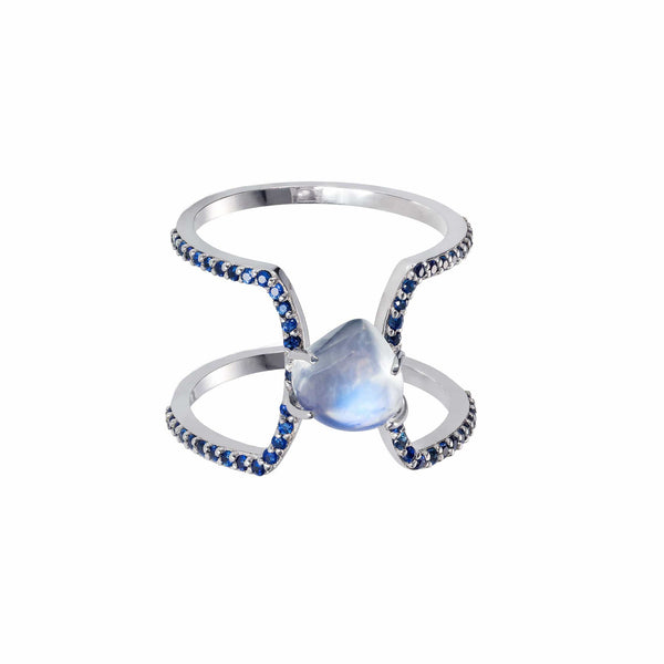 GFG Jewellery Rings Seraphina Sapphire Moonstone Wings Ring