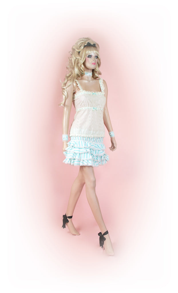 Blue<br>Stripy Frilly Mini